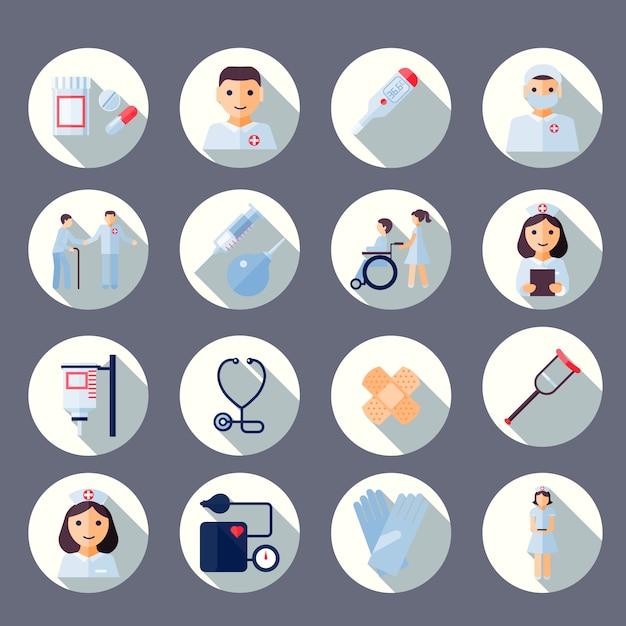 Verpleegster pictogramserie Premium Vector