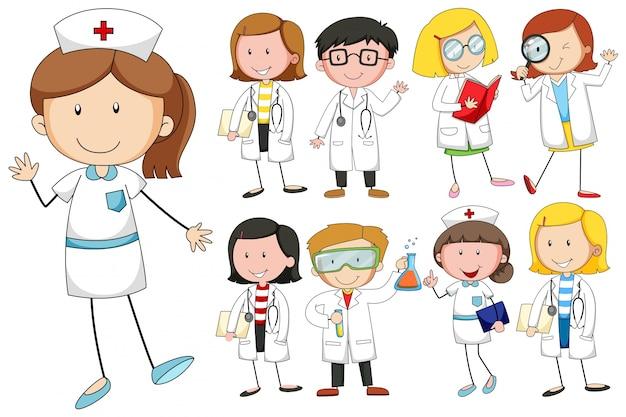 Verpleegsters en artsen op witte achtergrond Gratis Vector