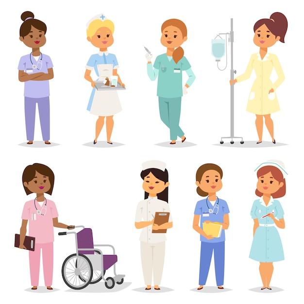 Verpleegsters tekenset. Premium Vector