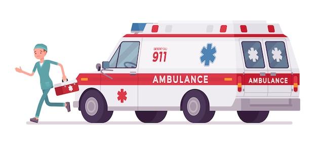 Verpleger bij ziekenwagenauto Premium Vector