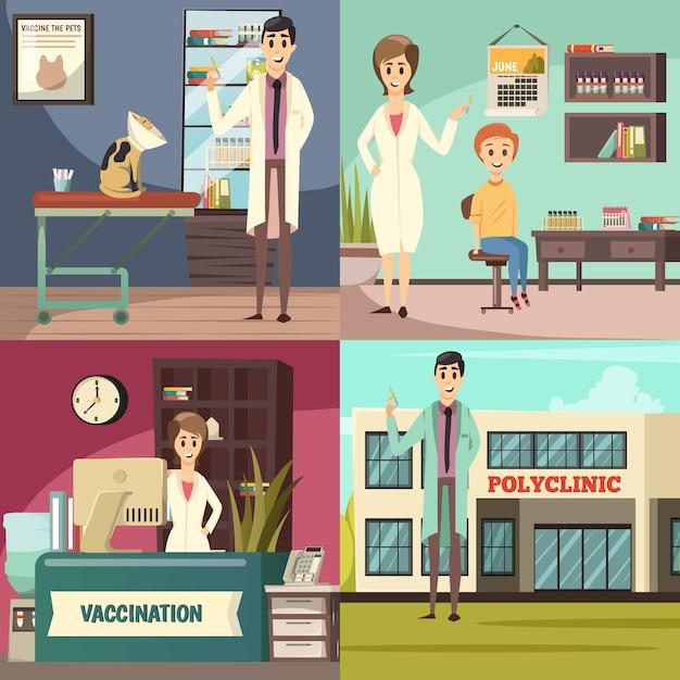 Verplichte vaccinatie orthogonale pictogrammen concept Gratis Vector