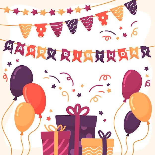 Verras verjaardagsdecoratie met geschenken Gratis Vector