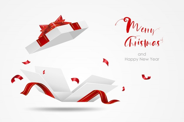 Verrassings witte geschenkdoos met rood lint. open geschenkdoos geïsoleerd. vrolijk kerstfeest en een gelukkig nieuwjaar. Premium Vector