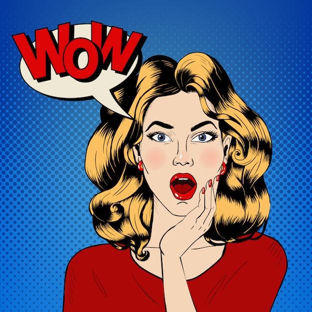 Verraste vrouw met bubbel en expressie wow in stripstijl Premium Vector
