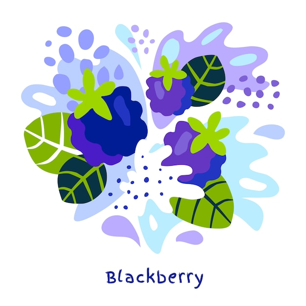 Vers blackberry fruitsap splash hand getekende illustratie Premium Vector