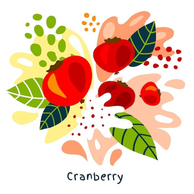 Vers cranberry vruchtensap splash hand getrokken illustratie Premium Vector