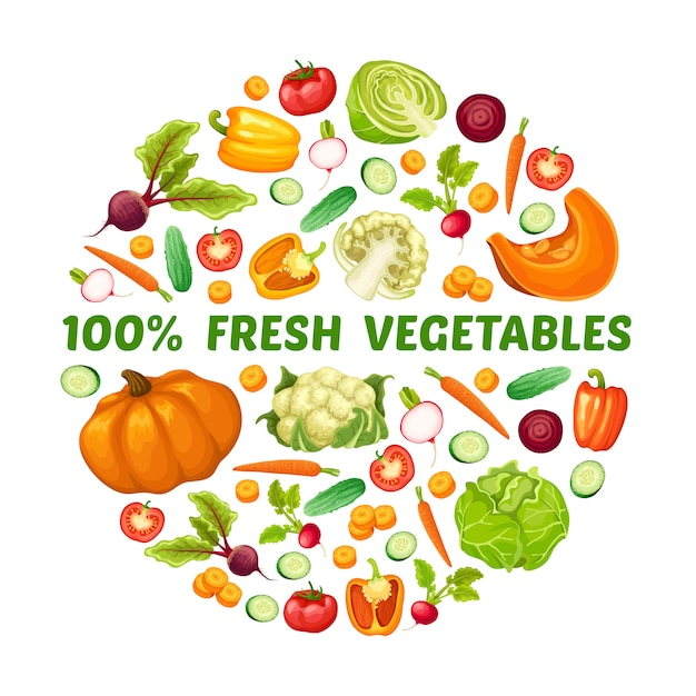 Vers farm food round concept Gratis Vector