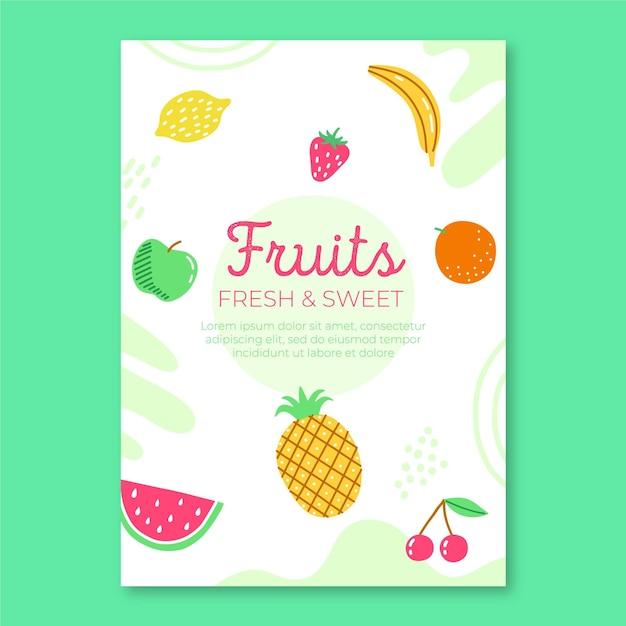 Vers fruit folder sjabloon Gratis Vector