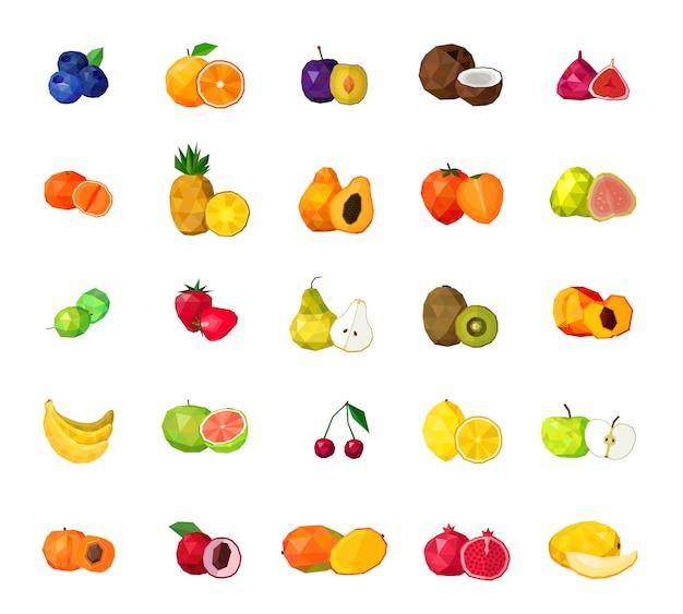 Vers fruit grote veelhoekige icons set Gratis Vector