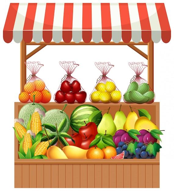 Vers fruit op houten kraam Premium Vector