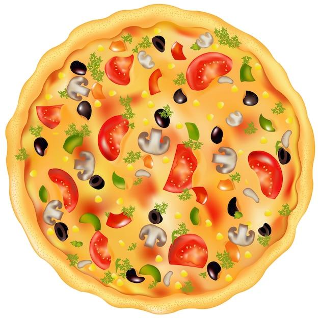 Vers gebakken pizza met champignons, tomaten, olijven en paprika, op wit Premium Vector