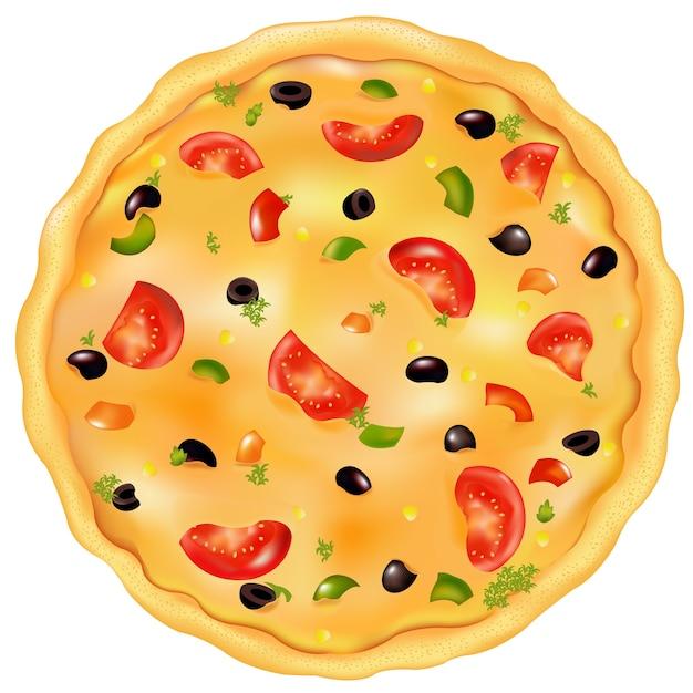Vers gebakken pizza met tomaat, olijfolie en peper, op wit Premium Vector