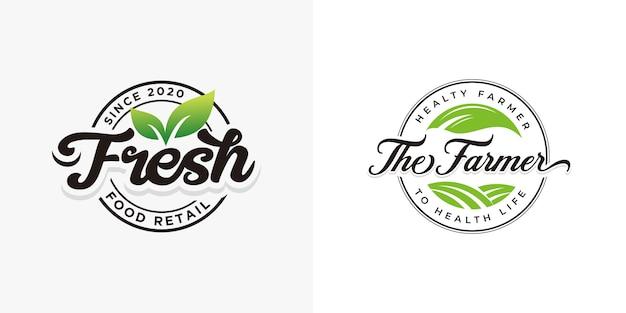 Vers natuurlijk voedsel logo collecties sjabloon Premium Vector