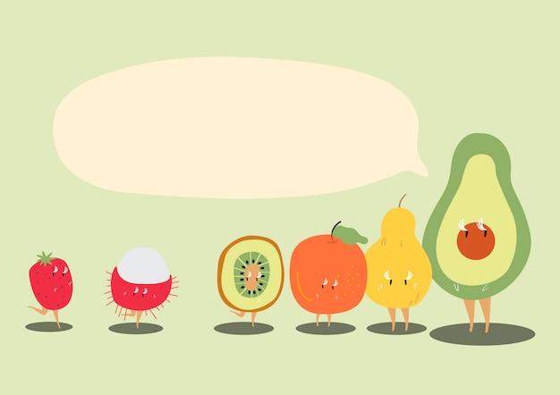 Vers tropisch fruit met een lege toespraak Gratis Vector