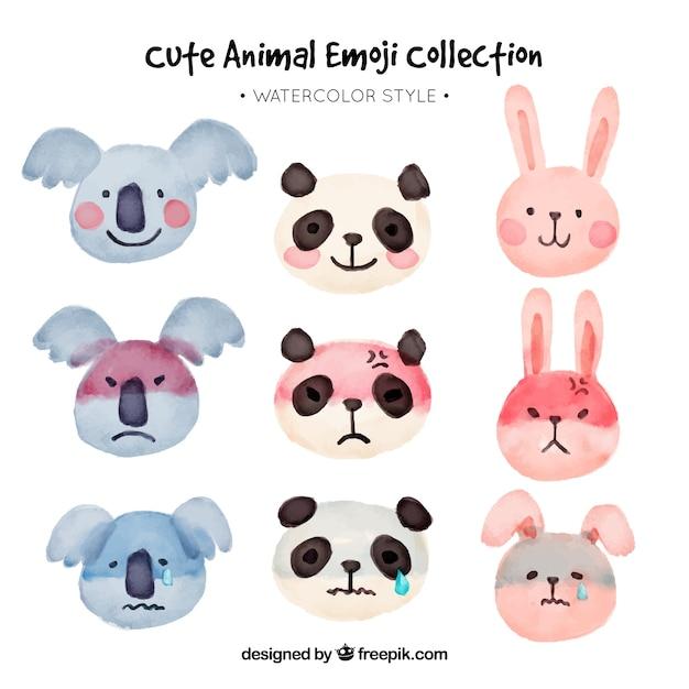 Verscheidene dier emoticons in aquarel stijl Gratis Vector