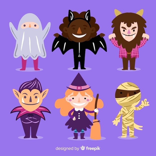 Verscheidenheid aan bekende halloween-monsterkostuums voor kinderen Gratis Vector