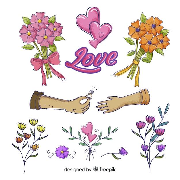 Verscheidenheid aan bloemenelementen voor bruiloft Gratis Vector