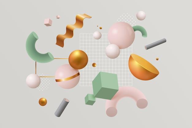 Verscheidenheid aan kleurrijke geometrische vormen en cluster van kleine vierkantjes Gratis Vector