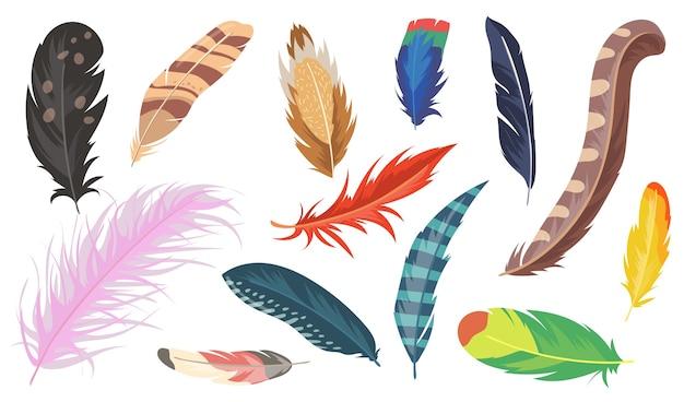 Verscheidenheid aan kleurrijke veren platte item set. cartoon glanzende struisvogel, fazant en papegaai geïsoleerde vector illustratie collectie. vogelveer en decoratie concept Gratis Vector