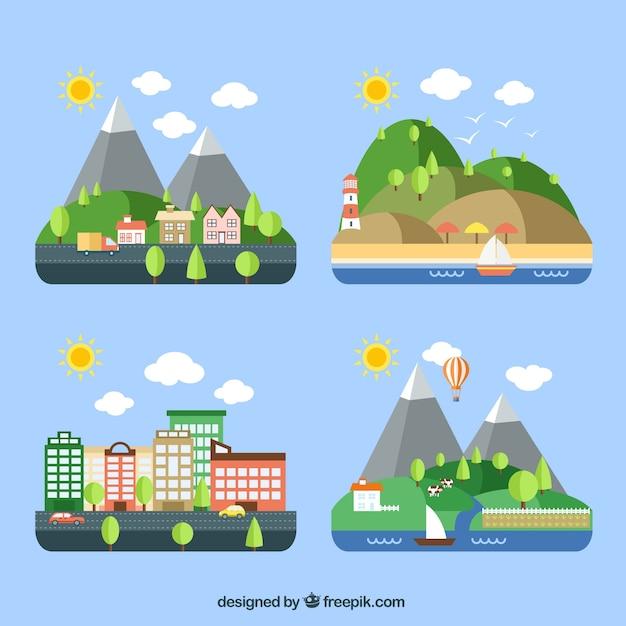 Verscheidenheid aan landschappen Gratis Vector