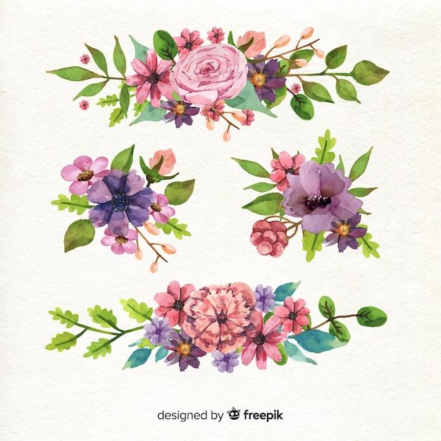 Verscheidenheid aan modellen voor floraboeketontwerp Gratis Vector