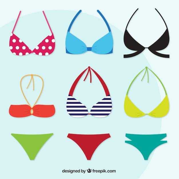 Verscheidenheid aan moderne bikini's Gratis Vector