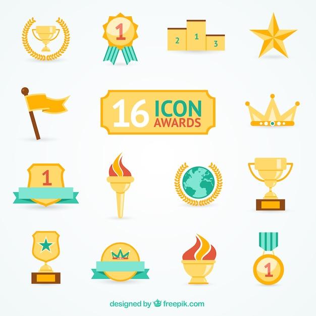 Verscheidenheid van award pictogrammen Gratis Vector