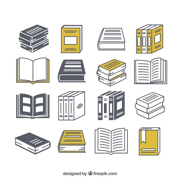 Verscheidenheid van boek iconen Premium Vector