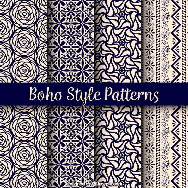 Verscheidenheid van boho patronen met prachtige ontwerpen Gratis Vector