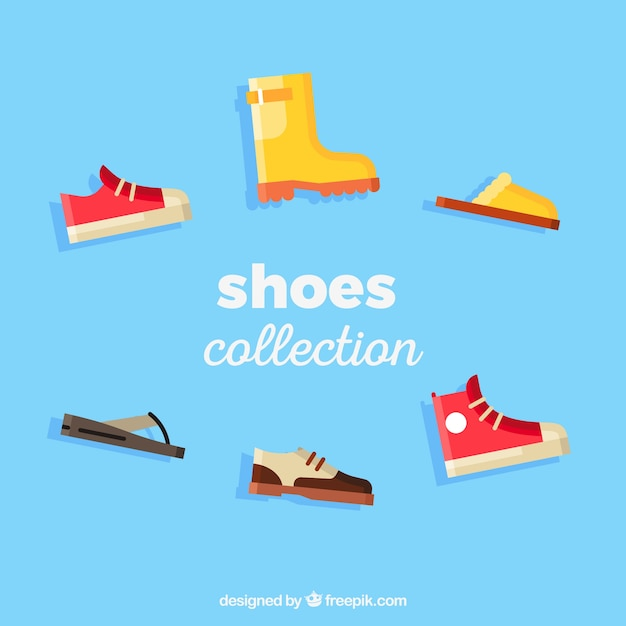 Verscheidenheid van cartoon schoenen Gratis Vector