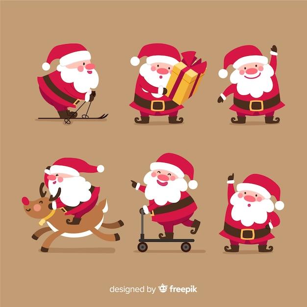 Verscheidenheid van de houdingeninzameling van de kerstman Premium Vector