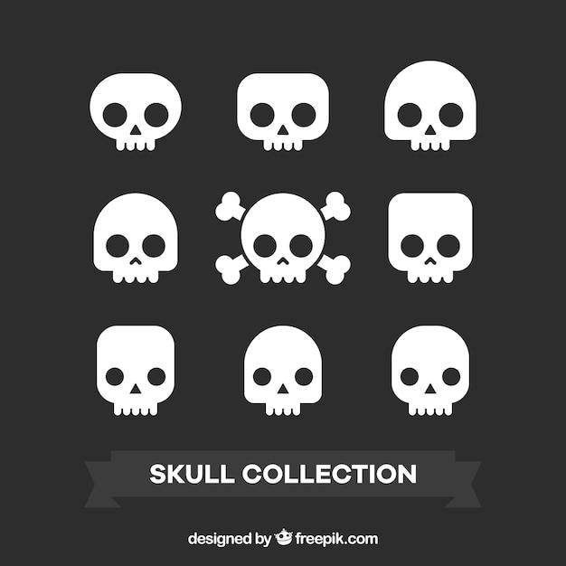 Verscheidenheid van decoratieve schedels in plat design Gratis Vector