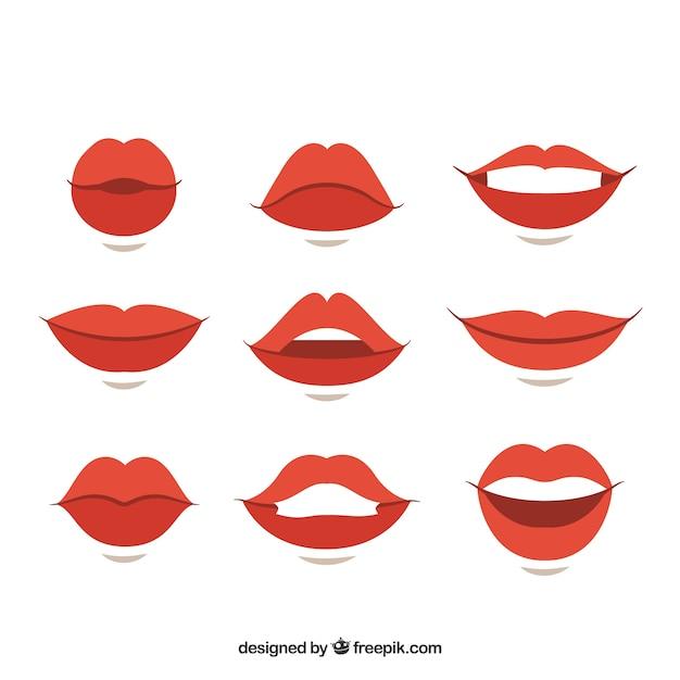 Verscheidenheid van gebaren met vrouwelijke lippen Gratis Vector