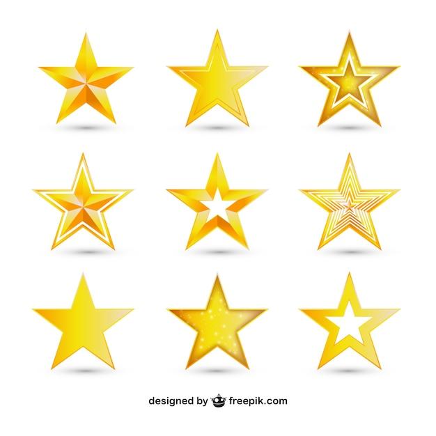 Verscheidenheid van gouden sterren Gratis Vector