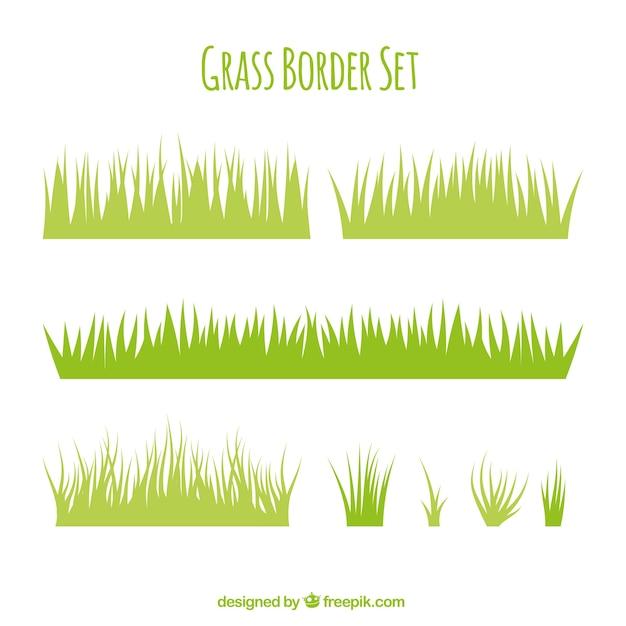 Verscheidenheid van gras grenzen in plat design Gratis Vector