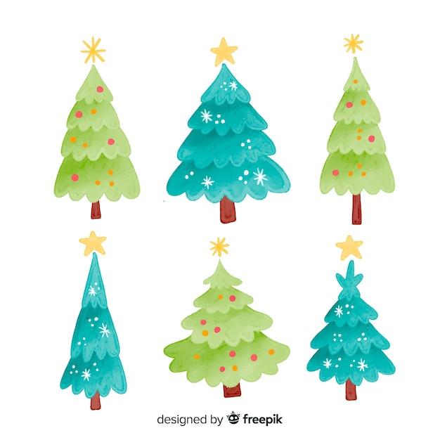 Verscheidenheid van groene tinten van kerstboom Gratis Vector
