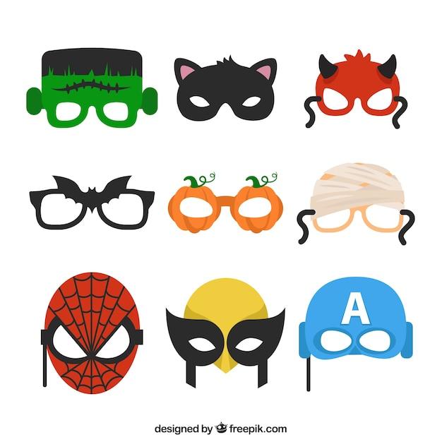 Verscheidenheid van halloween maskers Gratis Vector