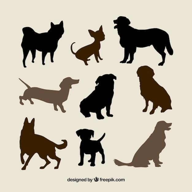 Verscheidenheid van hondenrassen silhouetten Gratis Vector