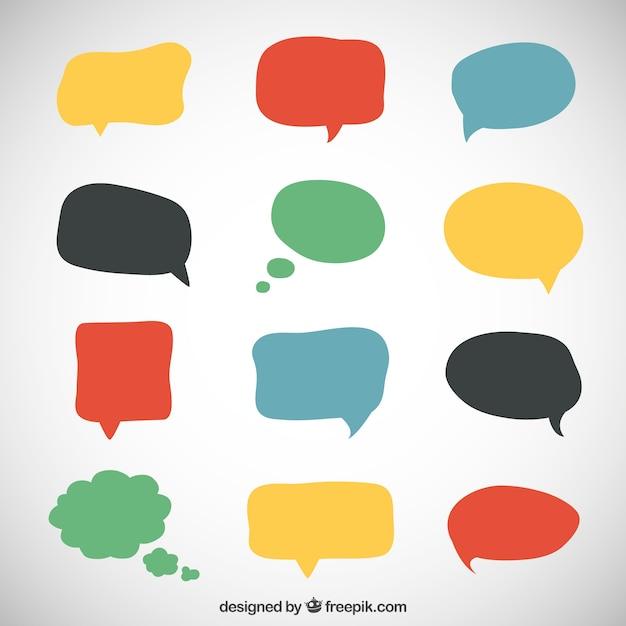 Verscheidenheid van kleurrijke toespraak bubbels Gratis Vector