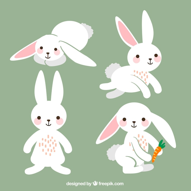 Verscheidenheid van leuke easter konijnen Gratis Vector