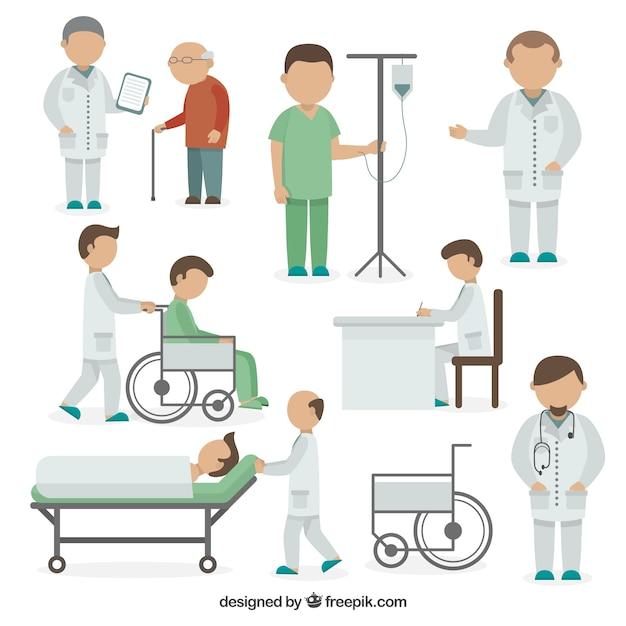 Verscheidenheid van medische situaties in vlakke stijl Gratis Vector