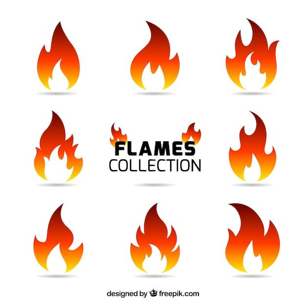 Verscheidenheid van negen gekleurde vlammen Premium Vector