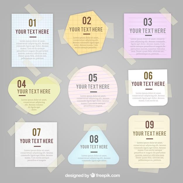 Verscheidenheid van notities met plakband Gratis Vector