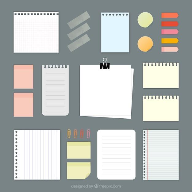 Verscheidenheid van papieren notities Gratis Vector