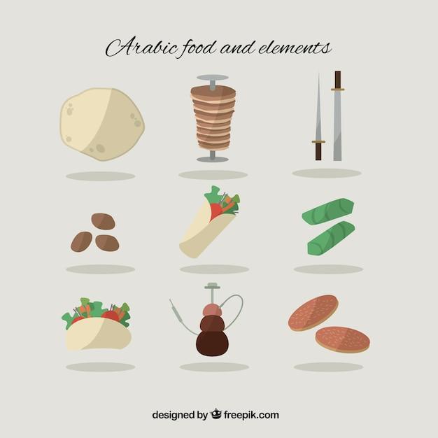 Verscheidenheid van platte arabisch eten en elementen Gratis Vector