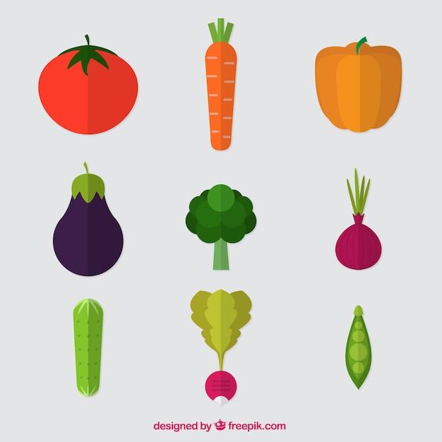 verscheidenheid van platte groenten vector gratis download. Black Bedroom Furniture Sets. Home Design Ideas