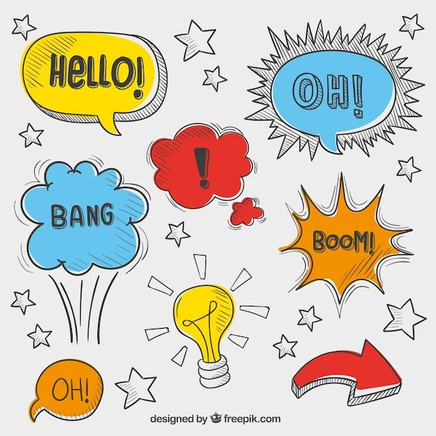 Verscheidenheid van schetsmatig speech bubbles Gratis Vector
