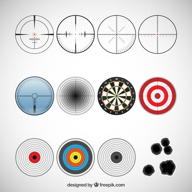 Verscheidenheid van target pictogrammen Gratis Vector