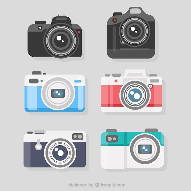 Verscheidenheid van vlakke ontworpen professionele camera's Premium Vector