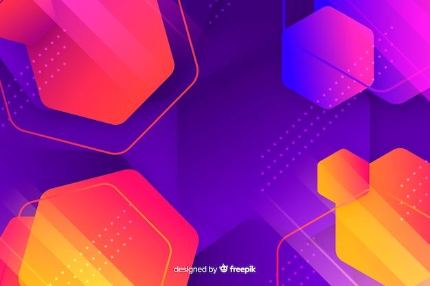 Verscheidenheid van zeshoeken kleurrijke achtergrond Gratis Vector